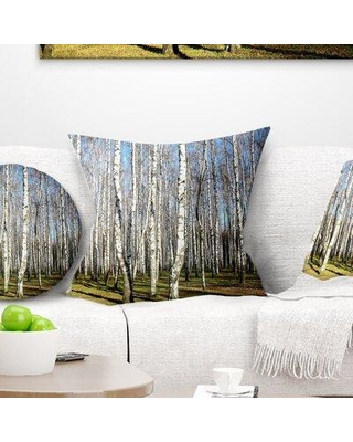 "East Urban Home Forest Sunny Autumn Birch Grove Pillow VCBN8910 Size: 18"" x 18"" Product Type: Throw Pillow"