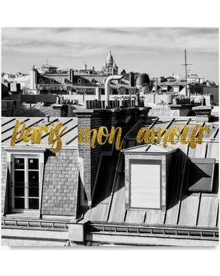 """Trademark Art 'Paris mon amour View of Roofs' Photographic Print on Wrapped Canvas PH01084-C Size: 18"""" H x 18"""" W"""