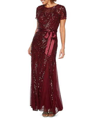 R & M Richards Short Sleeve Sequin Evening Gown, 14 , Red