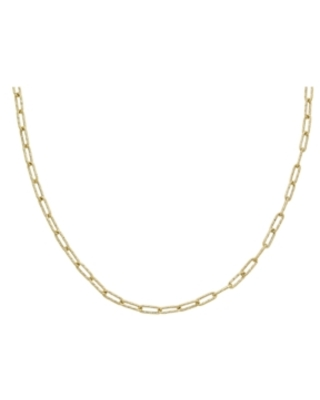 """Textured Paperclip Link 18"""" Chain Necklace in 10k Gold"""