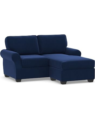 SoMa Fremont Roll Arm Upholstered Sofa with Reversible Chaise Sectional, Polyester Wrapped Cushions, Performance Everydayvelvet(TM) Navy