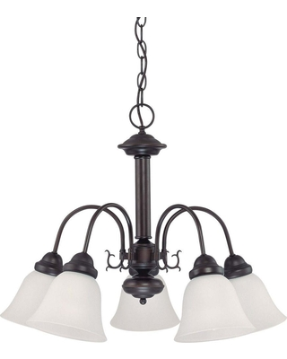 Glomar 5-Light Mahogany Bronze Chandelier with Frosted White Glass Shade