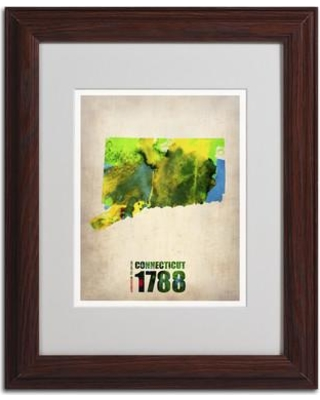 "Trademark Art ""Connecticut Watercolor Map"" by Naxart Framed Graphic Art ALI0144-B1114MF / ALI0144-B1620MF Size: 14"" H x 11"" W x 0.5"" D Frame Color: Brown"