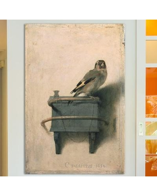"""East Urban Home 'The Goldfinch 1654' by Carel Fabritius Painting Print on Wrapped Canvas ESRB4194 Size: 12"""" H x 8"""" W x 0.75"""" D"""