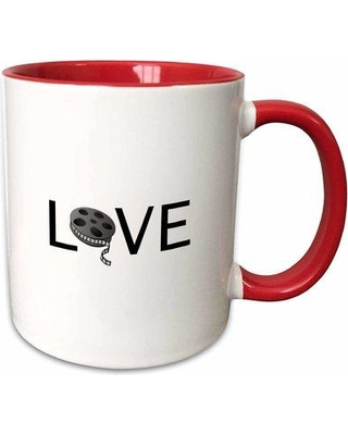 Symple Stuff Eady Love with Movie Reel for O Filming Buff Film Making Passion Text Coffee Mug W000212409 Color: Red