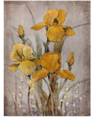 """Charlton Home 'Golden Irises II' Acrylic Painting Print on Wrapped Canvas CRLM2626 Size: 32"""" H x 24"""" W x 2"""" D"""