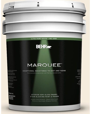 BEHR MARQUEE 5 gal. #PPU5-10 Heavy Cream Semi-Gloss Enamel Exterior Paint and Primer in One