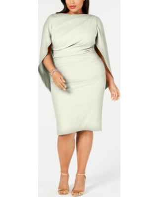 Amazing Deals on Betsy & Adam Plus Size Ruched Cape Dress
