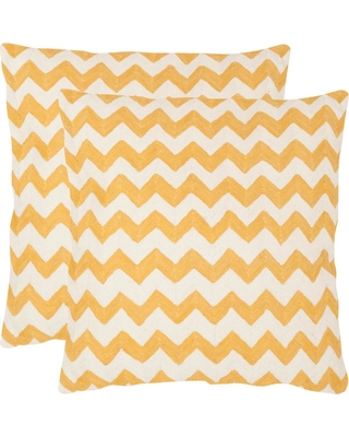 Safavieh Striped Tealea Chainstitch Pillow (2-Pack), Yellow