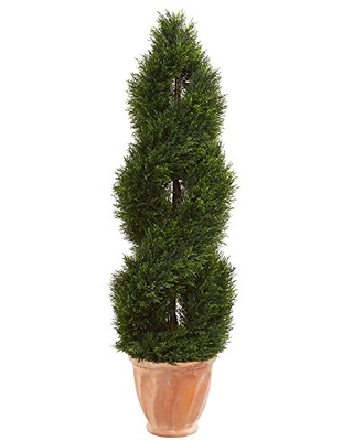 Nearly Natural Double Pond Cypress Topiary in Terracotta Planter, 4.5'