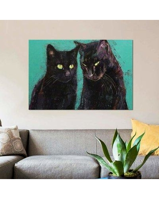 """East Urban Home 'Two Black Cats' Print on Canvas EBHT1066 Size: 26"""" H x 40"""" W x 0.75"""" D"""
