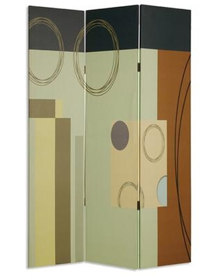 BM26495 Wooden 3 Panel Canvas Room Divider with Geometric Pattern
