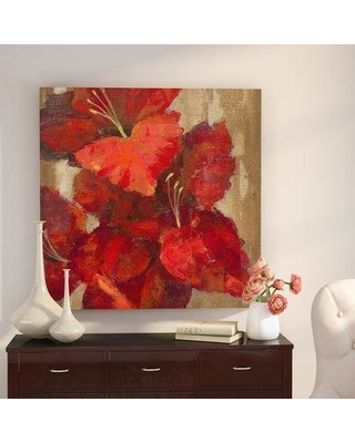"""Winston Porter 'Vivid Red Gladiola on Gold Crop' Acrylic Painting Print on Wrapped Canvas W001499926 Size: 14"""" H x 14"""" W x 2"""" D"""