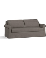 """York Roll Arm Slipcovered Deep Seat Sofa 84"""" with Bench Cushion, Down Blend Wrapped Cushions, Performance Heathered Tweed Graphite"""