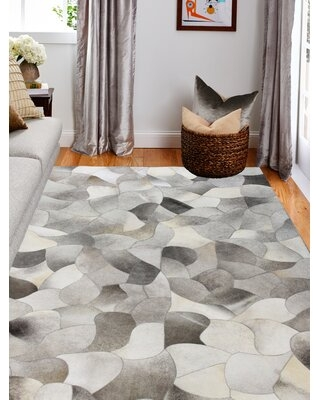 Deals For Lottie Handmade Cowhide Gray Area Rug Rug Size Rectangle 10 X 14