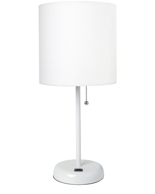 LimeLights 19.5 in. White Stick Lamp with USB Charging Port