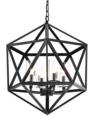 Edvivi 4-Light Antique Black Geometric Iron Cage Chandelier with Glass Shade