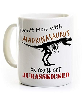 Discover Deals On Madrina Coffee Mug Gift For Godmother Customized T Rex Dinosaur
