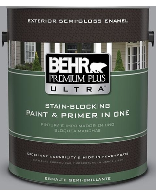 BEHR ULTRA 1 gal. #N530-4 Power Gray Semi-Gloss Enamel Exterior Paint and Primer in One
