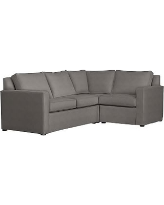 Cameron Square Arm Slipcovered Left Arm 3-Piece Corner Sectional, Polyester Wrapped Cushions, Sunbrella(R) Performance Slub Tweed Charcoal