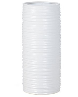 Torre & Tagus Ripple Ceramic Cylinder Vase Hand Crafted Classy Minimalist Design for Faux-Flower Center Piece Dining Living Room Accents, Tall, White