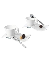 New Wave Square Espresso Cup Set of 2 by Villeroy & Boch Vitrified Porcelain - Made in Germany - Dishwasher and Microwave Safe - Includes Cup, Spoon, Saucer - 2.75 Ounce Capacity