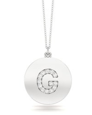 """Noray Designs 14K Gold Diamond (0.07Ct, G-H Color, SI2-I1 Clarity) A-Z Alphabet Initial Pendant, 18"""" Gold Chain (G - White)"""