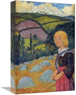 "East Urban Home 'Young Breton Girl and Haystacks' Graphic Art Print on Canvas FSCT9165 Size: 30"" H x 20"" W x 2"" D"