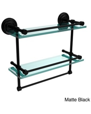 """16-inch Gallery Double Glass Shelf with Towel Bar - 16""""L (Matte Black)"""