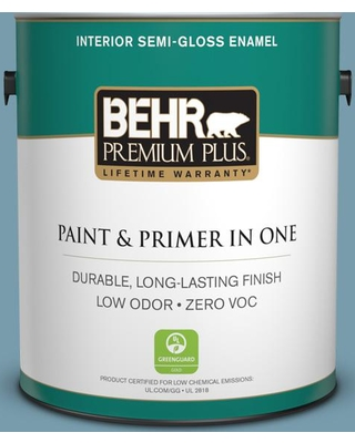 BEHR PREMIUM PLUS 1 gal. #S470-4 Dolphin Blue Semi-Gloss Enamel Low Odor Interior Paint and Primer in One