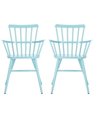 Safavieh Clifton Baby Blue Stacking Metal Outdoor Dining Chair (1-Pack)