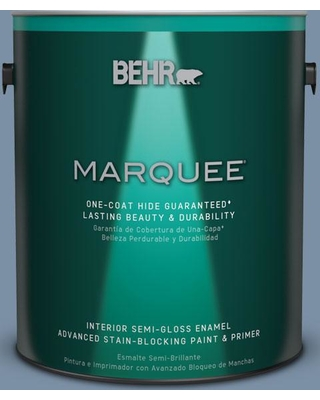 BEHR MARQUEE 1 gal. #S510-4 Jean Jacket Blue One-Coat Hide Semi-Gloss Enamel Interior Paint and Primer in One