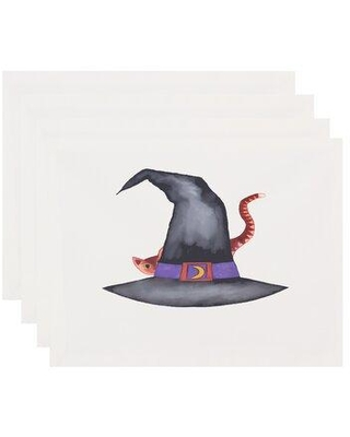 Get This Deal On The Holiday Aisle Maser Cat Behind The Hat Halloween 4 Piece Placemat Set Polyester In Off White Size 14 L X 18 W Wayfair
