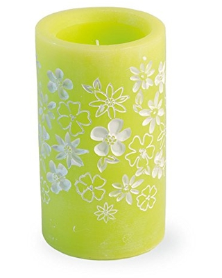 Boston International Flameless Wax LED Candle with Flower Accents, 3.25 x 5.75-Inches, Green