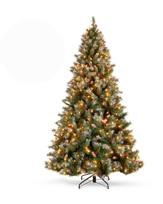 Best Choice Products 9ft Pre-Lit Pre-Decorated Holiday Christmas Tree w/ 2,058 Flocked Tips, 900 Lights, Base - 9ft