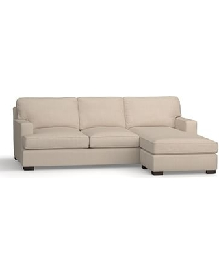 Townsend Square Arm Upholstered Sofa with Reversible Storage Chaise Sectional, Polyester Wrapped Cushions, Sunbrella(R) Performance Sahara Weave Oatmeal