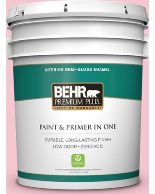 BEHR Premium Plus 5 gal. #120B-4 Old Fashioned Pink Semi-Gloss Enamel Low Odor Interior Paint and Primer in One
