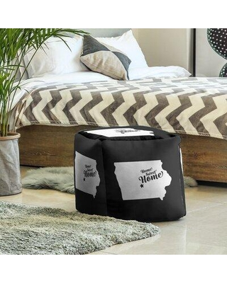 East Urban Home Home Sweet Des Moines Cube Ottoman EBJC3480 Upholstery Color: Black