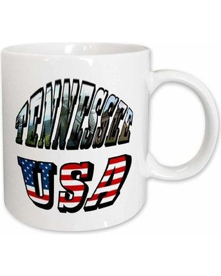 """East Urban Home Picture and USA Flag Text for Tennessee Coffee Mug X111482183 Size: 3.75"""" H x 4"""" W x 3"""" D"""