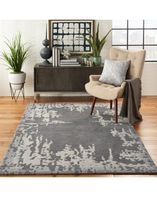 Nourison Symmetry Ivory and Gray 5'x8' Area Rug, Gray/Beige