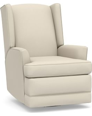 PB Modern Wingback Roll Arm Upholstered Power Recliner, Polyester Wrapped Cushions, Performance Brushed Basketweave Ivory