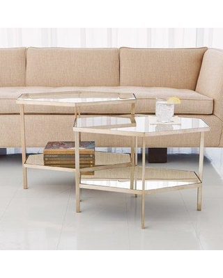 "Global Views Coffee Table 8.8242 Size: 21"" H x 17"" W x 25"" D Color: Silver Leaf"