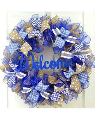 Royal Blue Welcome Wreath   Burlap Decor   Everyday Mother's Day Gift   Bridal Shower Present
