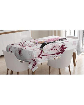 Ambesonne Princess Tablecloth, Flower Fairy With Butterflies Wings Branches Ornaments Floral Spring Forest, Rectangular Table Cover For Dining Room Ki