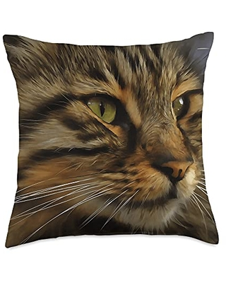 taiche Aslan The Long Haired Tabby Cat Artistic Pet Portrait Throw Pillow, 18x18, Multicolor