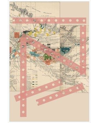 Ebern Designs 'Graphic Map 10' Framed Graphic Art Print on Canvas W000969990