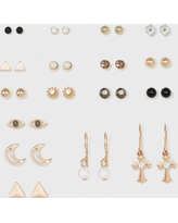 Stud, Moon, Wire Hoop with Charm Earring Set 18ct - Wild Fable