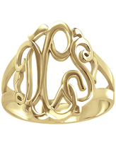 Personalized 14K Gold Over Sterling Silver Monogram Ring, 7 1/2 , No Color Family