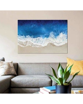 "East Urban Home 'Indigo Waves From Above I' Graphic Art Print on Canvas EBHV1492 Size: 8"" H x 12"" W x 0.75"" D"