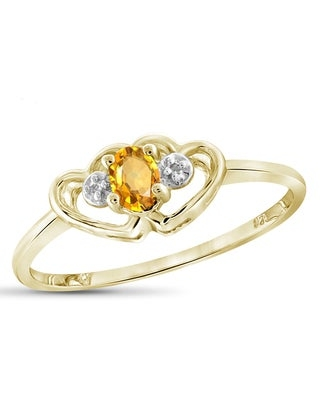 Jewelonfire 0.18 CT Citrine Gemstone & Accent White Diamond Heart Ring in Sterling Silver (Yellow - 6 - Gold Plate - Yellow)